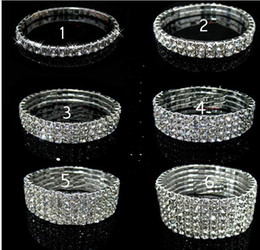 Wholesale Ring Tennis - 1 2 3 4 row Tennis Crystal bracelet Bridal jewelry rhinestone bracelet cystl stretch bracelets bridal wedding rhinestone bracelet