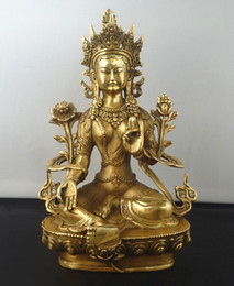 "Wholesale Kwan Yin Buddha - 8.5""Tibetan Buddhism Copper Green Tara God Godness Kwan-yin Buddha Statue"