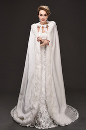 Wholesale hooded white bridal cape - Winter War Faux Fur Bridal Cloak Warm Wraps Hooded Trim Floor Length Perfect Abaya Jacket for Wedding Cape Wraps Jacket CPA915