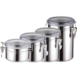Wholesale Can Storage - Hot sale ! 4 Sizes Coffee Tea Sugar Storage Tanks Sealed Cans Stainless Steel Canisters Kitchen Storage pot