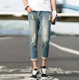 Wholesale Korean Men Fashion Jean Pant - Wholesale- #1404 2017 Korean Slim Skinny jeans men Biker Hip hop jeans men Fashion Ripped jeans for men Harajuku jean homme Denim pants