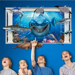 Wholesale Kindergarten Wall Decals - 60*90cm 3D Shark GWall Stickers DIY Art Decal Removeable Wallpaper Mural Sticker for Kids Room KinderGarten AY9262 XH9266 XH9265 XL8126