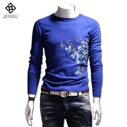 Wholesale Menswear Slim - Wholesale- Men Floral Sweaters and Pullovers Menswear Hombre Men Casual Fashion Slim Fit Long Sleeved O Neck Knitted Sweaters Male