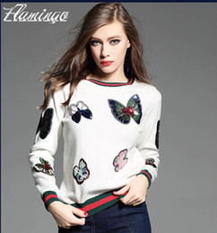 Wholesale M Butterfly - Women Sweater Bling Bling Sequin Patch Pullover Fashion Butterfly Knitted Cashmere Jumper Female Appliques Jacket Coat Tops