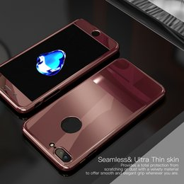 Wholesale Wholesale Silver Plastic Mirrors - Luxury Mirror Jet Black 360 Degree Full Protection Case For iPhone 7 8 Plus 6 6S Coverage with Temper Glass Hard PC Cover