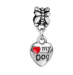 Wholesale Enamel Dog Charms - Fits Pandora Charm Bracelet Love My Dog Enamel Pendant Beads Sterling Silver Dangle Loose Charms For Diy European Snake Charm Chain Jewelry