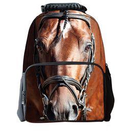 Wholesale Horse School Backpacks - New Fashion 3D Animal Horse Face Backpack Student School Bag Laptop Shoulder Bags Outdoor Sport Travel Bag Rucksacks