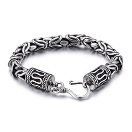 Wholesale Vintage 8mm - 63g Vintage 316L Stainless Steel Solid Heavy knot chain Bracelet 8mm 9 inch Fahsion Gifts for Mens