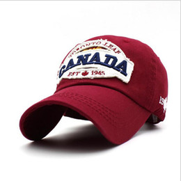 Wholesale Hats Wholesalers Canada - Canada 1945 100% Cotton Embroidered Cap Fashion Women Baseball Hat Baseball Cap Sports Hat Free Shipping