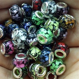 Wholesale Pink Resin Beads Fit Bracelet - 100pcs Handmade Beads Resin Bead Silver core European Fashion Large Hole Beads Fit PAN Bracelet