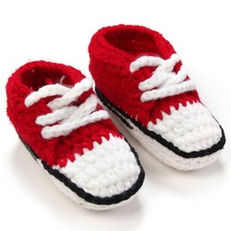 Wholesale Top Baby Prewalker - Top Sale Baby Knitted Shoes Comfy Soft Infant Prewalker Unisex Newborn Crochet Shoes First Walkers Handmade Walking Shoes VX0142