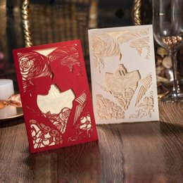 Wholesale Chinese Wedding Red Envelopes - Stylish Wedding Invitation Cards Laser Cut Hollow Groom And Bride Personalized Elegant Wedding Invitations Cards With Free Envelopes