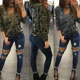 Wholesale Women Camouflage Fashion Shirts - 2017 Women's Fashion Straps Low-Cut Print Pullover Hollow Out Sexy Lace up Long Sleeve camouflage T-shirts