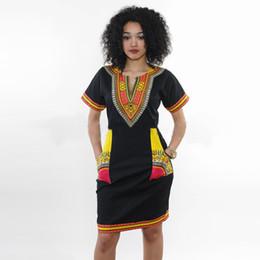 La camicia africana sexy della stampa dell'estate di trasporto libero all'ingrosso veste i vestiti hippie delle donne di Boho dell'annata più il femme più il formato più cheap plus size hippie boho clothing da più abbigliamento hippie boho di formato fornitori