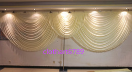 Wholesale Curtain Wall Decorations - 6m wide valance white swags wedding stylist designs backdrop drapes Party Curtain Celebration Stage Performance Background Satin Drape wall