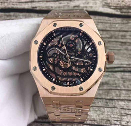Wholesale Offshore Rose Gold - 2017 Fashion Mens TOP Quality High 18K Rose Gold Asia Skeleton Mens Watch Offshore Automatic Mechanical Sport Men's Watches