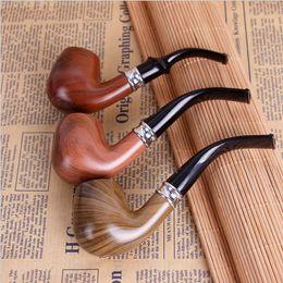 tubo di tabacco piegato nero Sconti Camino classico regolare di legno classico durevole che fuma tubo di tabacco tipo piegato regalo nero stabilito trasporto libero