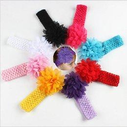 Wholesale Crocheted Elastic - Baby Headwear Head Flower Hair Accessories 4 inch Chiffon Flower with Soft Elastic Crochet Headbands Stretchy Hair Band