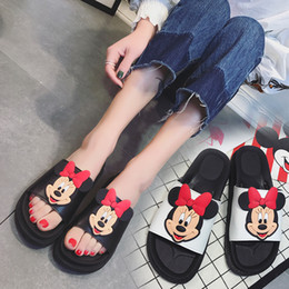Wholesale Flat Carton - Hot Sale Womens Mickey Mouse Black Slippers Soft White Leather Carton Sandals For Girls 2017 Fashion Rubber Flat Flip Flops