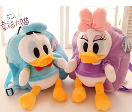 Wholesale Donald Duck Bag - Wholesale-Candice guo plush toy stuffed doll cute cartoon Stitch Donald Duck backpack Satchel shoulder bag schoolbag package birthday gift