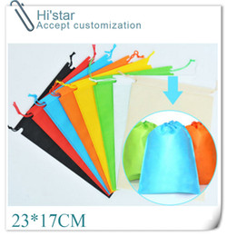 Wholesale Reusable Bags Logo - Wholesale- 23*17CM 20pcs wholesales reusable eco-friendly non woven shopping bags customized logo 8 colors to choose