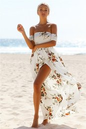 Wholesale Long Sleeve Printed Maxi - 2017 Summer Women's Print Slash Neck Off Shoulder Bohemian Beach Dress Casual Long Maxi Women Split Dresses Clothing