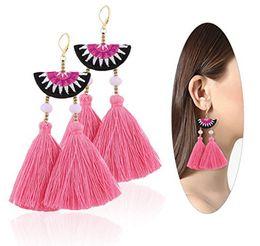 Wholesale embroidery earrings - Women Ethnic Bohemian Embroidery Earrings Boho Long Wool Tassel Drop Dangle Crystal Handmade Earrings Eardrop 12pairs lot