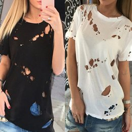 Wholesale Sexy Black Shirt Holes - 2016 New Fashion Ripped Holes T-shirt Summer Top Black White Women O-neck Short Sleeve Hollow Out Sexy Casual Tee Shirts Blusas