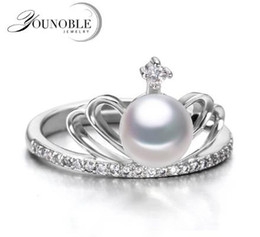 Wholesale Gold Plated Freshwater Pearl Ring - Real freshwater pearl rings 9-10mm for women,white natural pearl ring 925 sterling silver jewelry birthday anniversary gift white gold