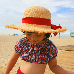 Wholesale Handmade Straw Hats - Kids sun hat handmade children straw sunhats summer girls Bows ribbon sun shade princess hats tassel lace big brim floopy cap R0803