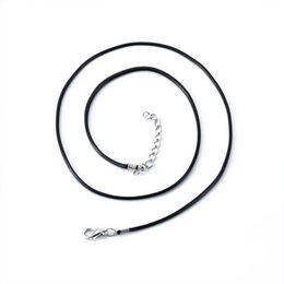 Wholesale Leather Necklace Silver Lobster Clasp - 20 Inch Black Wax Leather Snake String Rope for Necklace DIY Jewelry Cord and Wire Lobster Clasp 1.5mm BXL0000171