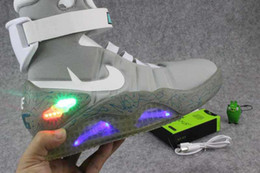 Wholesale Light Motorcycle Shoes - 40-46 Air Mag Men Limited Edition Back To The Future McFly Mags,Grey Basketball Shoes With LED Lights Sneakers High Quality Sport Shoes