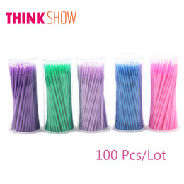 Wholesale Makeup For Blue Green Eyes - 100 Pcs Lot Disposable Eyelash Extension Micro Brushes,Makeup Tools for Individual Eye Lashes,3D Volume Lashes Extension Free Shipping