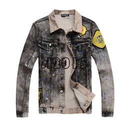 Wholesale Vintage Cotton Clothing - Luxury Designer Brand Denim Jackets streetwear Vintage Mens Hip Hop Clothing long sleeve Street Wear Jeans Jackets Casual Bomber Jacket