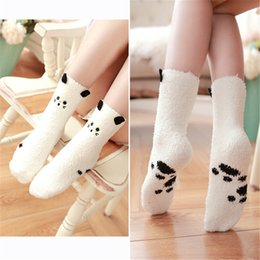 Wholesale Thermal Socks For Women - Wholesale- 1Pair 2016 Autumn Winter Cute Animal Coral Cashmere Thermal Floor Home Sleep Socks For Women Christmas Gifts Fashion Sock FHJ412