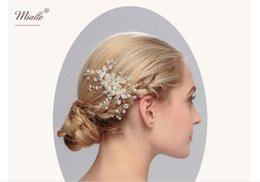 Wholesale Silver Wig Ponytail - Bride headdress wedding accessories hand pearl plate hair ornaments jewelry water pipe comb factory direct sales large concessions HX 017