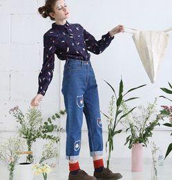 Wholesale Women Jeans Holes Cheap - Wholesale- Harajuku Womens Jeans Cute Cartoon Embroidery Ladies Straight Trousers Ladies Long Denim Pants Blue Free High Quality Cheap