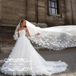 Wholesale Ivory Lace Chapel Wedding Veils - Stunning Butterfly 3D-Floral Appliques Wedding Dresses With Veil Puffy A Line 2017 Long Court Train White Tulle Bridal Dress Gown