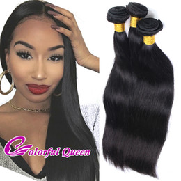 Wholesale Sew Machine Cheap - Virgin Malaysian Straight Hair Weaves 3pcs lot 300g Cheap Human Hair Bundles Sew In Hair Extensions Natural Black Color 1B Can be Permed