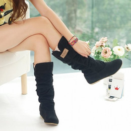 Wholesale Light Brown Wedge Boots - EUR 34 - 43 Big Size Spring Autumn hidden wedge Flock boots Fashion Flat Mid-calf women boots casual shoes sweet lace boots