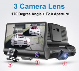 Wholesale Video Camera Microphones - New 4'' HD 1080P Car Dvr 3 Camara Lens With Rear View 4.0 Inch Dash Cam Video Recorder 170 Degree Night Vision Camcorder Registrar