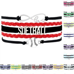 Wholesale Custom Jewelry Charms - Custom-Infinity Love Softball Charm Wrap Team Bracelets For Women Men A Wide Variety Of Colors Leather Bracelet Jewelry