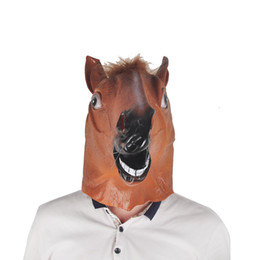 Wholesale Super Man Costume Party - horror full head masks creepy horse mask head super creepy party halloween costume mask theater prop latex horse head masks fur mane latex