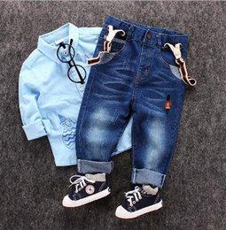 Wholesale Baby Boy Suspender Trousers - The spring of 2017 the new foreign trade children's clothes The boy children jeans embroidery soldiers Baby suspenders trousers