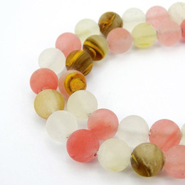 Wholesale Cherry Quartz Necklace - 4-12mm Round Natural stone beads Matte Frosted Multi-Colored Cherry Quartz Loose for Bracelet Necklace Jewelry Making Crafts