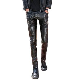 Wholesale 32 Leather Pants - Wholesale- 2017 new fashion night club dj swag skinny mens faux leather pu black joggers biker pants for men boys with zippers
