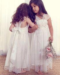 Wholesale Girls Maxi Dress Black - Romantic V-neck Summer Boho Flower Girls Dresses Floor Length Vintage Maxi Ivory Lace Flower Girl Dresses Suitable for Beach Wedding