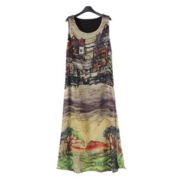 Wholesale Maxi Dresses Silk Chiffon - Popular Women Sleeveless Silk Chiffon Long Maxi Dress Summer Beach Sundress Fashion