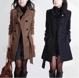 Wholesale Trench Outerwear - 2016 New Women Trench Woolen Coat Winter Slim Double Breasted Overcoat Winter Coats Long Outerwear for Women QB323