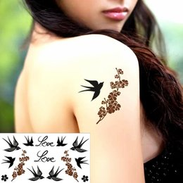 Wholesale Tattoo Sticker Love - Wholesale- Love Birds Swallow Temporary Tattoo Body Art Arm Flash Tattoo Stickers 17*10cm Waterproof Fake Henna Painless Tattoo Sticker